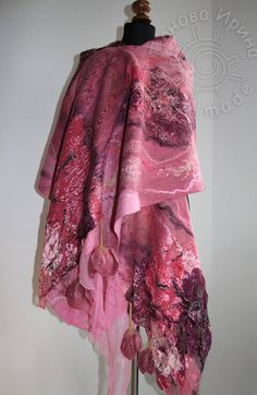 Nuno Felted scarf stole in pale light pink, dark pink, plum and Bordeaux…