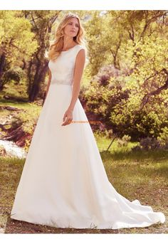 A-linie Romantische Schöne Brautkleider aus Satin mit Perlenstickerei
