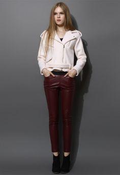 asymmetric woolen outwear, girls asymmetric white woolen outwear, zip pocket belt jacket outwear for you #asymmetric #woolen #outwear www.loveitsomuch.com