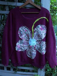 Raspberry Inside Out 3-4X Fleece Shirt/ Funky Flower by SheerFab