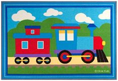 Wildkin Olive Kids Trains, Planes, Trucks Blue Area Rug Rug Size: x Kids Area Rugs, Blue Area Rugs, Choo Choo Train, Baby Nursery Decor, Bedroom Decor, Cool Rugs, Accent Rugs, Kids House, One Color