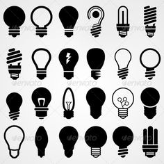 Buy Lightbulbs Silhouettes Set by Shukatka on GraphicRiver. Vector Design, Design Templates, Logo Design, Graphic Design, Wwf Poster, Ai Illustrator, Silhouette S, Print Fonts, Vector Graphics