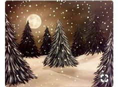 Limabean Arts and Crafts - Home Easy Canvas Painting, Winter Painting, Winter Art, Diy Painting, Painting & Drawing, Canvas Art, Christmas Tree Painting, Christmas Canvas, Christmas Art