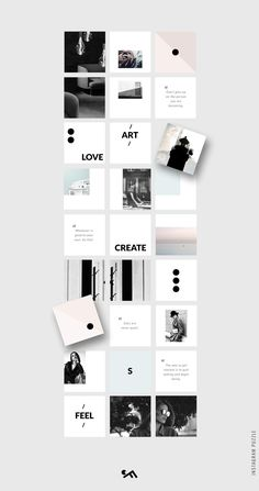 PUZZLE template - Minimal by CreativeFolks on Creative Market Insta Layout, Instagram Feed Layout, Feeds Instagram, Instagram Grid, Instagram Post Template, Instagram Design, Instagram Posts, Web Design, Grid Design