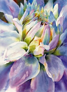 Watercolor by Susan Crouch - Rhythm and Blues Dahlia Art Floral, Watercolor Flowers, Watercolor Paintings, Watercolors, Art Amour, Art Aquarelle, Art Et Illustration, Illustrations, Beautiful Paintings