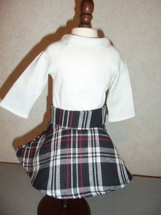 america doll clothes plaid skirt with white by CarolinaDollClothes, $8.00