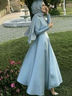 2afba8df80 A-Line Long Sleeves Scoop Floor-Length With Beading Satin Muslim Dresses