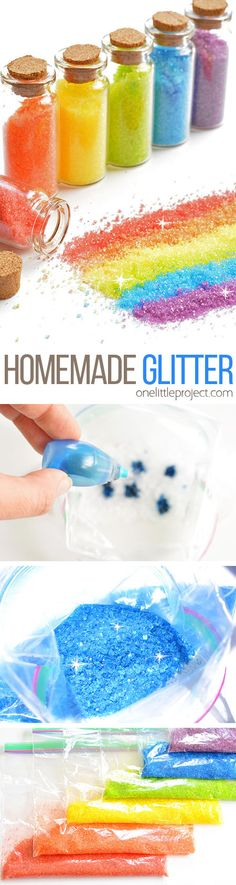 This homemade glitter is such a GREAT project to try with the kids! It sticks to glue just like regular glitter, but it's way cheaper and sooooo much easier to clean up! So fun!