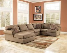 Nebraska Furniture Mart U2013 Ashley Contemporary Ultra Plush LAF Chaise  Sectional (Basement Couch)