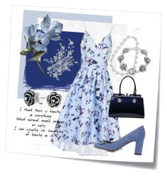 Blue Garden by girl-inthe-park on Polyvore featuring polyvore fashion style Chi Chi Tabitha Simmons MKF Collection Bling Jewelry M&Co Post-It clothing