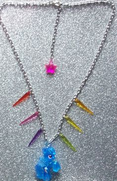 Spikey Glitter Rainbow Dash Necklace by onsecretwings on Etsy, $12.00