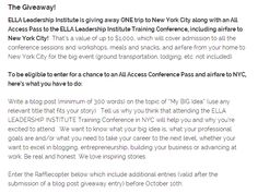 Enter to win a trip to NYC for the ELLA Leadership Institute's Training Conference next April! http://www.latinabloggersconnect.com/latinas-think-big-event-is-coming-to-l-a-a-giveaway-to-nyc/#.UlKxUMZJOAg