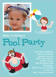 Pool Party Aqua 5x7 Stationery Card by Stacy Claire Boyd