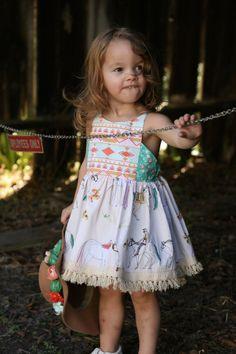 Girls horse dress toddler dress boho child by WildCottonHandmade