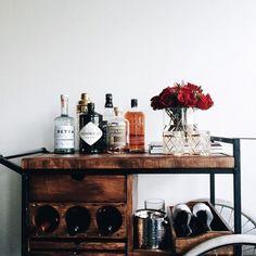 rustic bar cart | interior design + decorating ideas