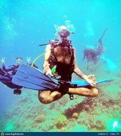 """#Yoga Poses Around the World: """"Underwater Lotus, in Cebu, Philipines by Vaibhav R."""""""