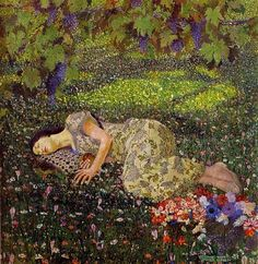 klimt - It is actually by Felice Casorati - Dreaming of Pomegranates, the style is Art Nouveau. Gustav Klimt, Art Klimt, Kunst Online, Beautiful Paintings, Oeuvre D'art, Love Art, Les Oeuvres, Painting & Drawing, Dream Painting
