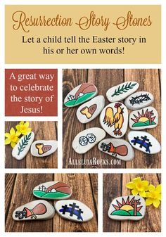 Passion of Jesus Easter Story Stones, Resurrection Story Stones, Jesus Story Stones, Easter Basket gift, Story Rocks Crafts For Teens To Make, Crafts To Sell, Gifts For Kids, Diy And Crafts, Story Stones, Easter Gift Baskets, Basket Gift, Sunday School Activities, Stone Painting