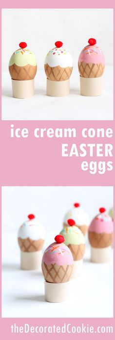 Ice cream cone Easter eggs! Easter egg decorating ideas with paint. No-dye.