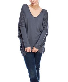 Loving this Charcoal V-Neck Tee on #zulily! #zulilyfinds