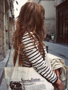 Bag and stripes #effortless #weekend #casual #style #fashion #outfit #hair #simple