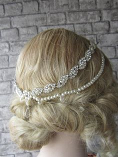 Bridal Headpiece/ Wedding Head Chain, Bridal hair accessory, Wedding Headband, Ivory Pearl And Rhinestones Bridal Headpiece