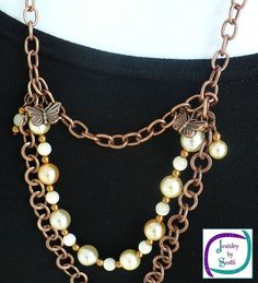 Copper Chain Cream Pearl Catseye Necklace Triple Strand Butterfly Charms // SRAJD #handmade #etsyretwt