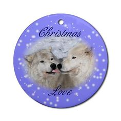 Christmas Kisses Ornament Holiday Round Ornament by CafePress. Two Arctic wolves with a Christmas kiss Holiday Round Ornament Instantly accessorize bare wall-space with our Round Ornament. Makes great room or office accessories, fun favors for birthday parties, wedding or baby shower Ornaments, or adding a unique, special touch to gift-wrapped packages. Comes with its own festiv. Price: $12.50