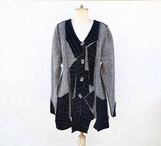 long jacket felted wool, unique art to wear, M size grey and black fleece, steamed wool fabric, warm lightweight wearable art artsy woman A4 by ZOJKAshop on Etsy