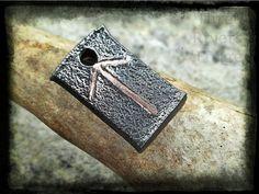 Tyr Rune Pendant  Copper Inlay Blacksmith by ThreeRiversForge