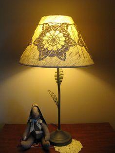 crocheted lamp decor
