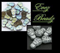 Owl Czech Glass Beads Beige/Copper, Crystal/Silver, Black Diamond AB | evezbeadz - Jewelry Supplies on ArtFire, on sale