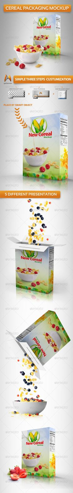 Cereal Packaging Mockup  #GraphicRiver         Photo realistic Cereal Packaging Mockup, Create a realistic cereal box for your website or for make a design presentation in few seconds. these PSD files are using the Smart-Object, so you can replace the mockup content easily and quickly.  Features:  – This pack contains 5 PSD files.  – Get 5 psd files with the same settings in the layers this makes it easy to customize.  – Easy for place your label design cover.  – Photoshop 100%  – High…