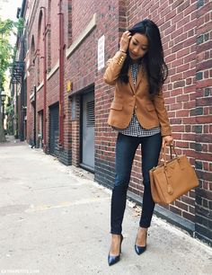 casual friday at work outfit - camel blazer, skinny jeans, gingham shirt