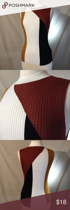 """Bar III Color Block High Collar Sleeveless Sweater Bust 36"""" Length 24"""" Material is stretchy. It is in excellent used condition. No rips stains or tears. Fits small Bar III Sweaters Cowl & Turtlenecks"""