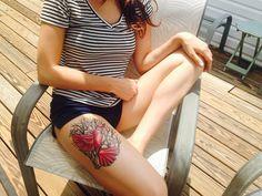 Red Cardinal Thigh Tattoo  #tattoo #red #thigh #cool