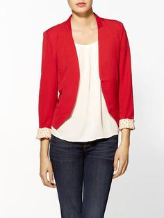 Love blazers. Have a white one already. Red might be a little too bold though