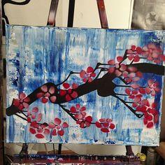 24x18in #cherryblossom #canvas #drip #tag #stencil #urbanart #art #lowercasetres