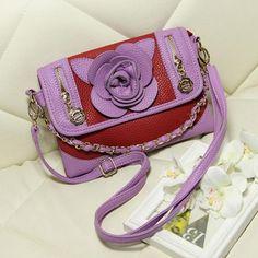 Purple Faux Leather Flower Zipper Detail Handbag