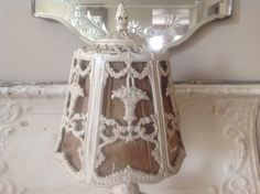 Beautiful barbola antique white boudoir Victorian shabby chic cottage baskets of roses metal lamp by FarmhouseMemories on Etsy https://www.etsy.com/listing/179524400/beautiful-barbola-antique-white-boudoir