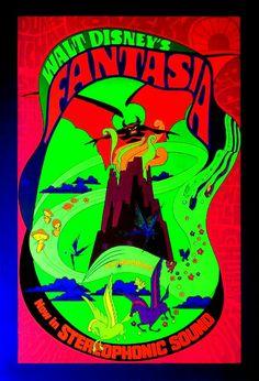 "(DISNEY'S ""FANTASIA"" (1940) RE-RELEASE PSYCHEDELIC BLACKLIGHT POSTER.  (1971)"
