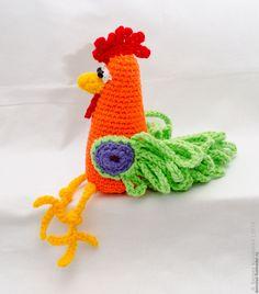 Купить Петух - комбинированный, петух, подарок на новый год, вязанный, игрушка, сувенир, огненный, подарок