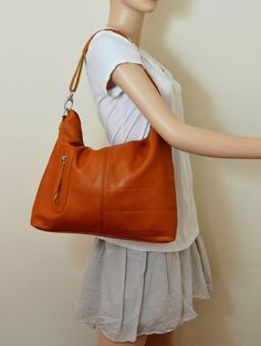 MAX MEDIUM BROWN---Adeleshop handmade clip on hobo laptop messenger satchel shoulder cross body bag