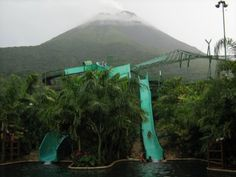 Baldi hot springs (with slides!) in front of Volcan Arenal