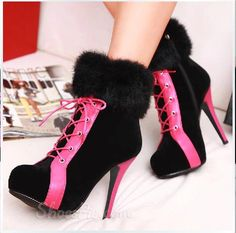 ddfe5ab3e2a Cool Show Chic Suede Contrast Colour Platform High Heel Boots
