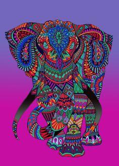 'Elephant mandala' by tqueen Mandala Art, Mandalas Painting, Dot Painting, Mandala Design, Elephant Colour, Elephant Love, Elephant Art, Coloring Book Art, Mandala Coloring