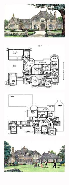 French Country House Plan 66236 | Total Living Area: 6274 sq. ft., 5 bedrooms and 5.2 bathrooms. #frenchcountryhome