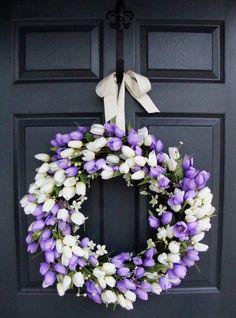 """22"""" Tulip Spring Wreaths, Easter Decoration, Spring Tulip Front Door Wreaths, Mothers Day Wreath, Wreaths, Includes Free Wreath Hanger on Etsy, $120.00"""