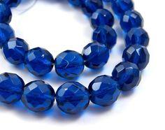 Czech Glass Beads Dark Aqua Blue 12mm faceted by RiverSongBeads