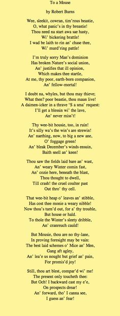 Steinbeck took the title from a line in this poem by Robert Burns. Why do you think he did this?
